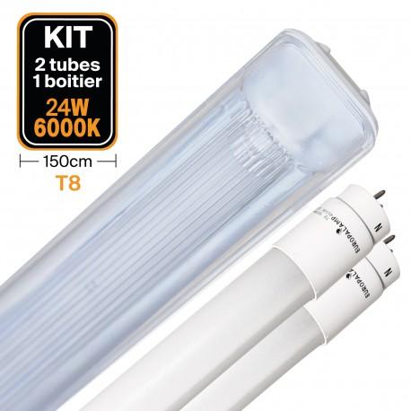 Kit 2 Tubes LED T8 24W Blanc Froid + Boitier Etanche 150cm