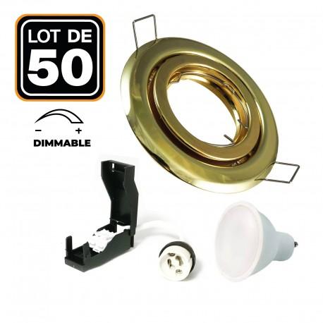 Lot de 50 Spots encastrable orientable DORÉE C avec GU10 LED de 7W eqv. 56W Blanc Chaud 2800K
