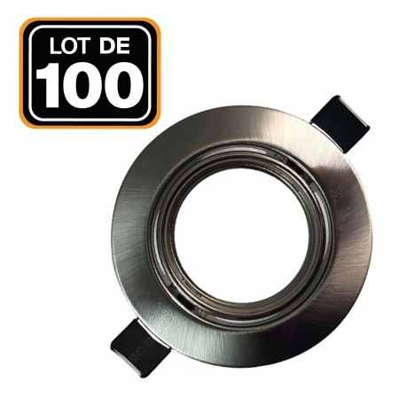 Lot de 100 Supports spot orientable Inox , Diametre 90mm trou de perçage 65mm