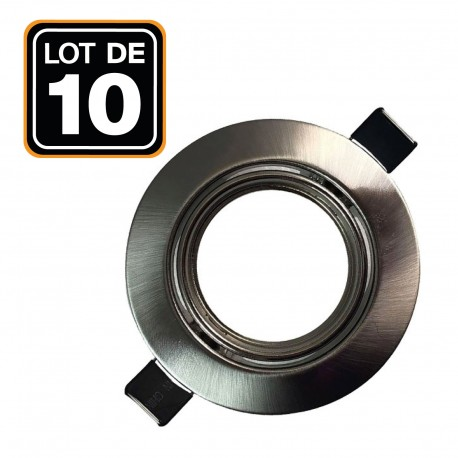 Lot de 10 Supports spot orientable Inox Diametre 90mm trou de perçage 65mm