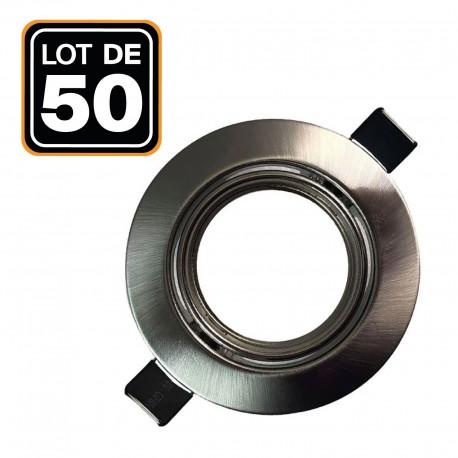 Lot de 50 Supports spot orientable Inox , Diametre 90mm trou de perçage 65mm
