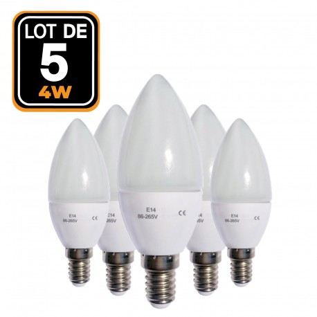 Set of 5 LED flame E14 4W 220V 4500 k