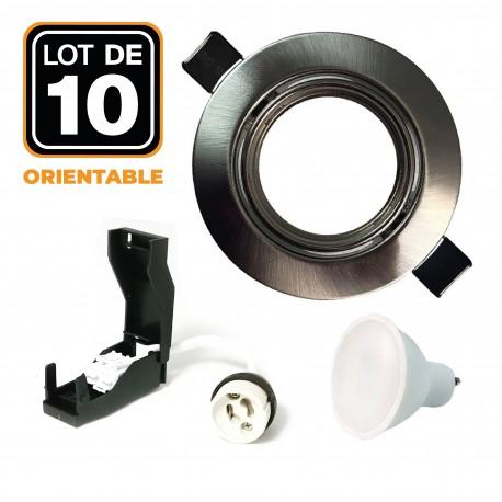 10 Spots encastrable orientable Alu Brossé avec GU10 LED de 5W eqv. 40W Blanc Chaud 3000K