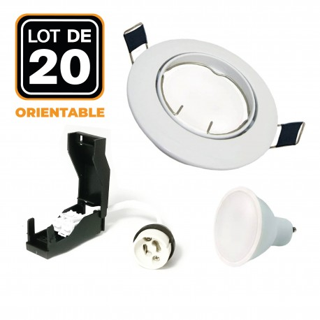 Lot de 20 Spots encastrable orientable blanc avec GU10 LED de 5W eqv. 40W Blanc Froid 6000K