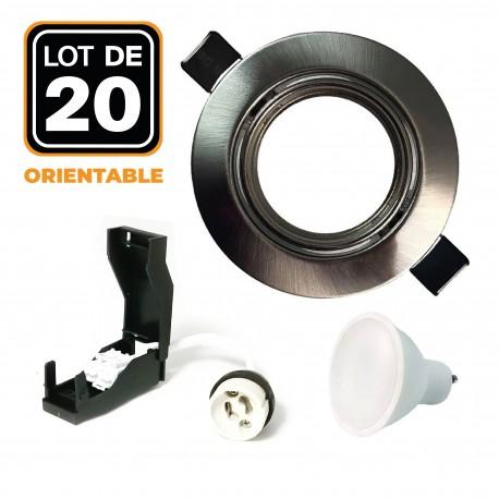 20 Spots encastrable orientable Alu Brossé avec GU10 LED de 5W eqv. 40W Blanc Froid 6000K
