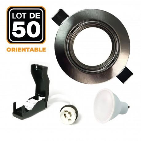 50 Spots encastrable orientable Alu Brossé avec GU10 LED de 5W eqv. 40W Blanc Chaud 3000K