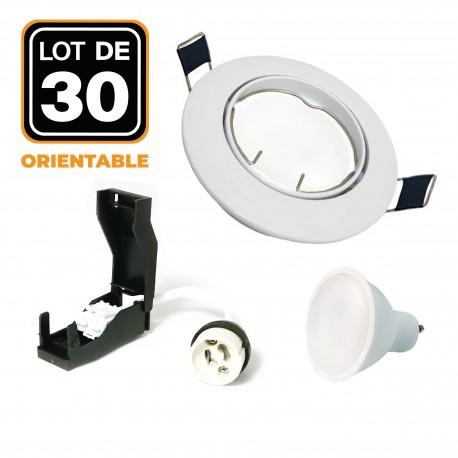 30 Spots encastrable orientable BLANC avec GU10 LED de 7W eqv. 56W Blanc Chaud 3000K