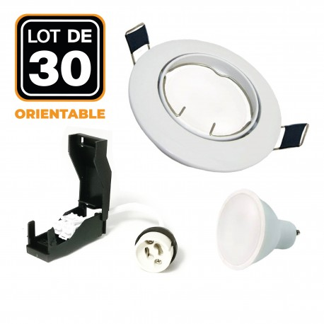 30 Spots encastrable orientable BLANC avec GU10 LED de 7W eqv. 56W Blanc Neutre 4500K
