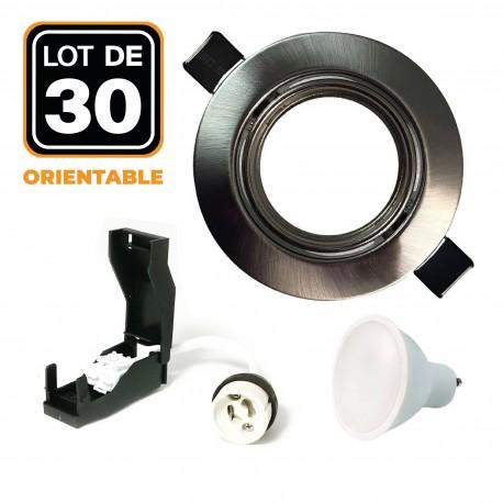 30 Spots encastrable orientable Alu Brossé avec GU10 LED de 7W eqv. 56W Blanc Chaud 3000K