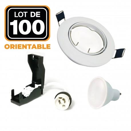 Lot de 100 Spots encastrable orientable BLANC avec GU10 LED de 7W eqv. 56W Blanc Chaud 2800K