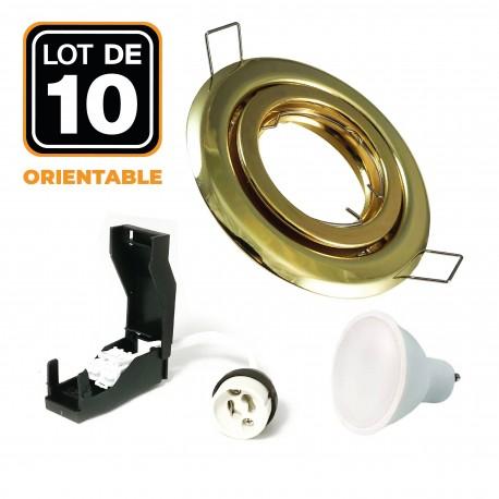 Lot de 10 Spots encastrable orientable DORÉE avec GU10 LED de 5W eqv. 40W Blanc Chaud 2800K