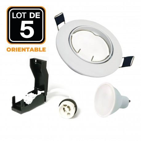 Lot de 5 Spot encastrable orientable BLANC avec GU10 LED de 5W eqv. 40W Blanc Chaud 3000K