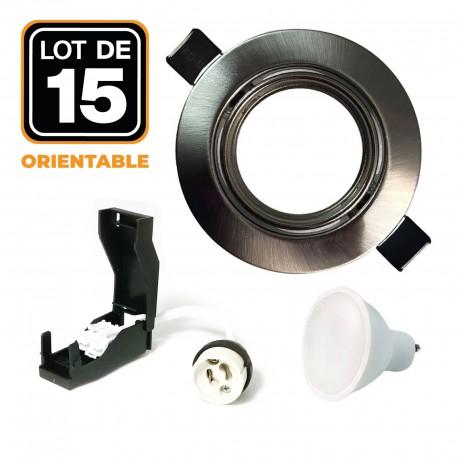 Lot de 15 Spots LED 5W Encastrable et orientable complet en Alu brossé avec Ampoule GU10 Blanc Chaud